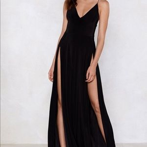 Sexy High Slit Black Maxi
